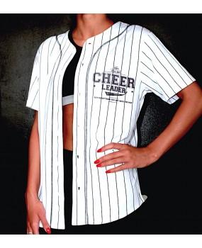 Chemise style baseball blanche et rayée noire imprimé «Cheerleader»