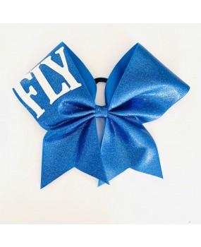 "Noeud Cheerleading Bleu ""FLY"" Pailleté Tissu gros grain 7''"