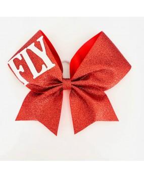 "Noeud de Cheerleading ROUGE ""FLY"" tissu pailleté Gros grain 7"""