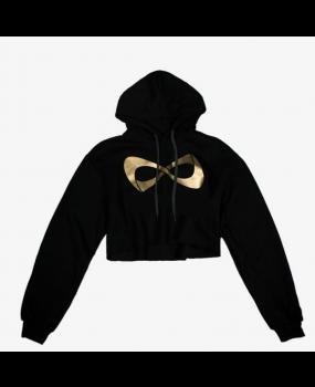 Sweat Nfinity Crop Top à capuche Noir Logo Or